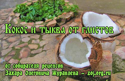 Кокосовая стружка и тыквенные семечки от глистов